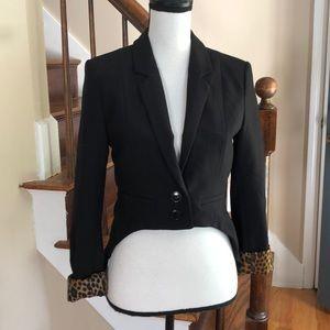 H&M black tuxedo jacket with leopard lining
